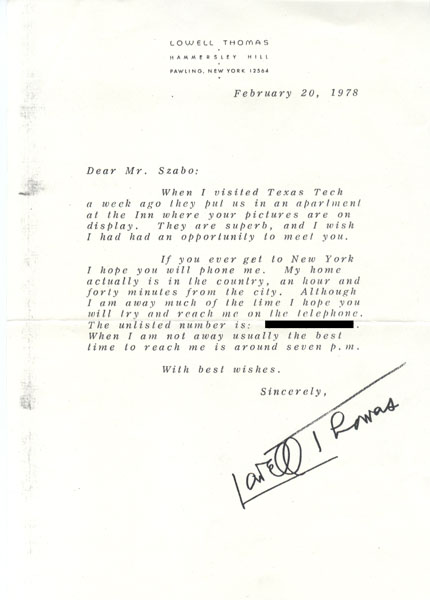Letter Of Admiration From Lowell Thomas To Endre Szabo