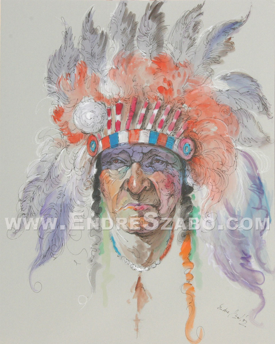 Old West Native American Chief, Original Mixed Media Art
